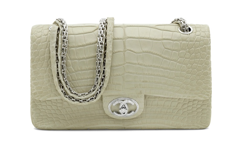 An exceptional, matte white alligator diamond forever medium classic double flap with 18k white gold & diamond hardware, Chanel, 2008. 26 w x 16 h x 7.5 d cm. Estimate £30,000-£40,000. Offered in Handbags & Accessories on 31 July 2020 at Christies in London