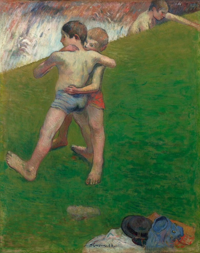 Paul Gauguin, Children Wrestling, 1888. Oil on canvas. Photo © Department of Culture and Tourism — Abu Dhabi. Photograph by Agence PhotoF