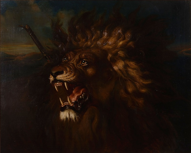 Raden Saleh, Wounded Lion, circa 1838. Oil on canvas. 88 x 108.5 cm. Collection of National Gallery Singapore. 2011-00665
