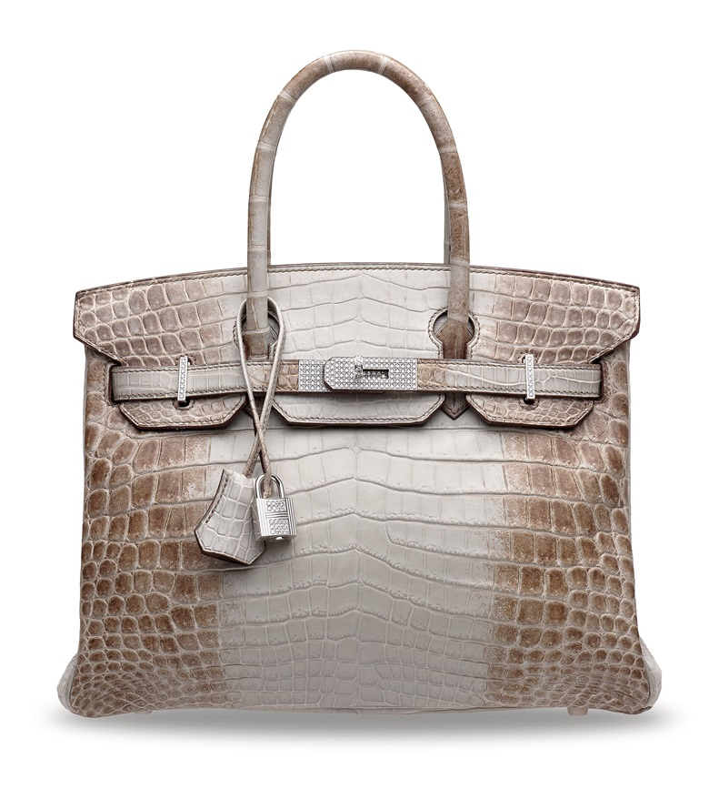 A rare, matte gris cendré Himalaya Niloticus Crocodile Diamond Birkin 30 with 18k white gold & diamond hardware. Hermès, 2013.