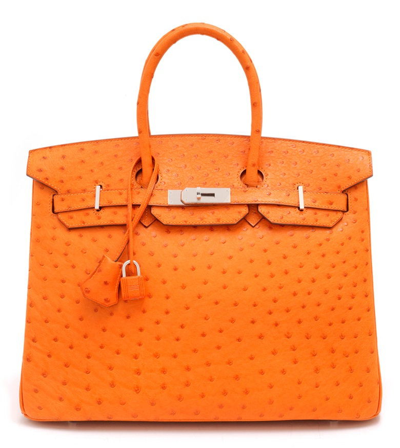 An orange ostrich Birkin 35 with palladium hardware, Hermès, 2007. 35 w x 25 h x 18 d cm. Price on request. Offered for Private Sale at Christies