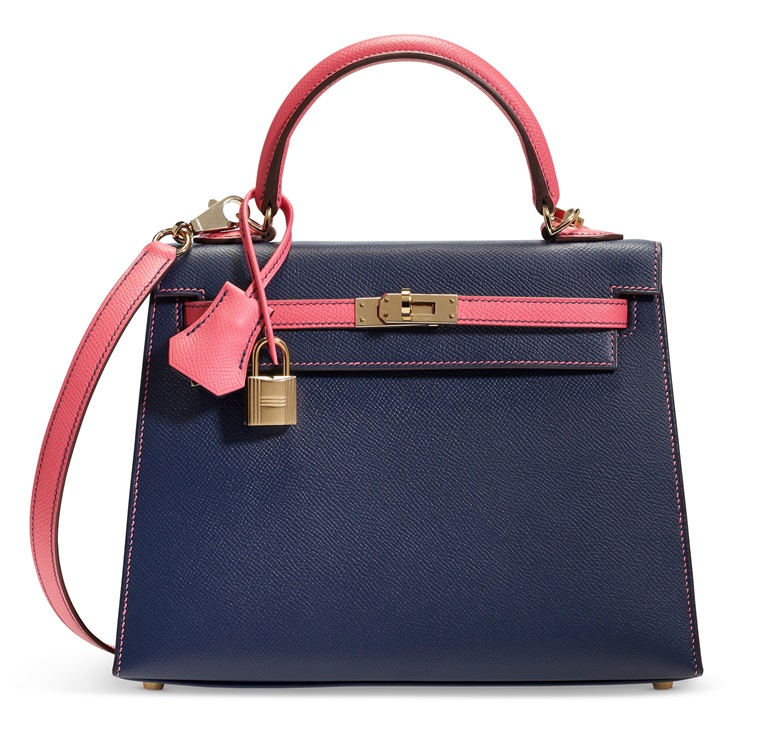 A custom bleu saphir & rose azalée Epsom leather Sellier Kelly 25 with permabrass hardware, Hermès, 2018. 25 w x 18 h x 9 d cm. Offered in Handbags & Accessories Online on 11 June 2020 at Christie's in New York
