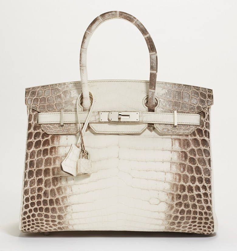 A rare, matte white Himalaya Niloticus Crocodile Birkin 30 with palladium hardware, Hermès, 2019. 30 w x 22 h x 15 d cm. Estimate $80,000-100,000. Offered in Handbags & Accessories Online on 11 June 2020 at Christie's in New York
