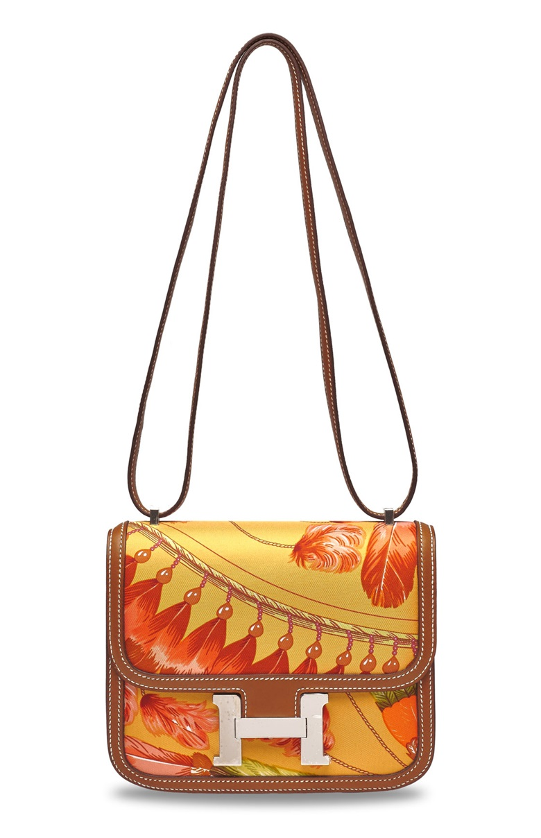A limited edition fauve barénia leather & silk brazil Mini Constance 18 with palladium hardware, Hermès, 2014. Sold for HK$106,250 on 10 July 2020 at Christie's in Hong Kong