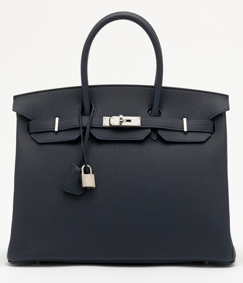A bleu nuit togo leather Birkin 35 with palladium hardware, Hermès, 2019. 35 w x 25 h x 18 d cm. Price on request. Offered for Private Sale at Christie's