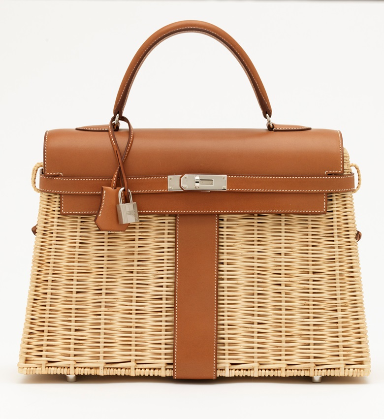 A limited edition naturel Barénia & Osier Picnic Kelly 35 with palladium hardware, Hermès, 2018. 35 w x 25 h x 13 d cm. Price on request. Offered for Private Sale at Christie's