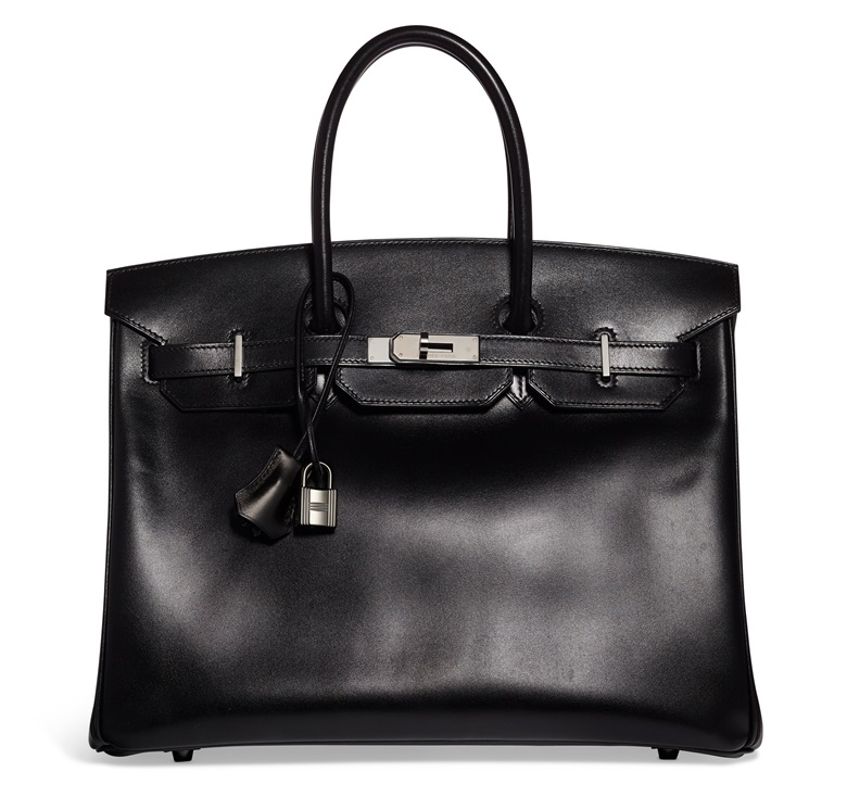 A limited edition black calfbox leather So Black Birkin 35 with black PVD hardware, Hermès, 2011. 35 w x  27 h x 18 d cm. Estimate $12,000-15,000. Offered in Handbags & Accessories Online on 11 June 2020 at Christie's in New York