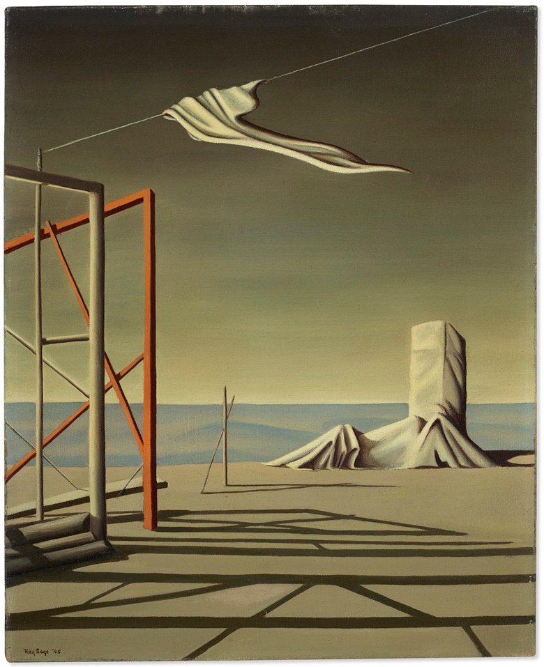Kay Sage (1898-1963), Other Answers, 1945. Oil on canvas. 16 x 13 in (40.6 x 33.1 cm). Offered for private sale at Christie's. View Impressionist and Modern art currently offered for private sale at Christie's