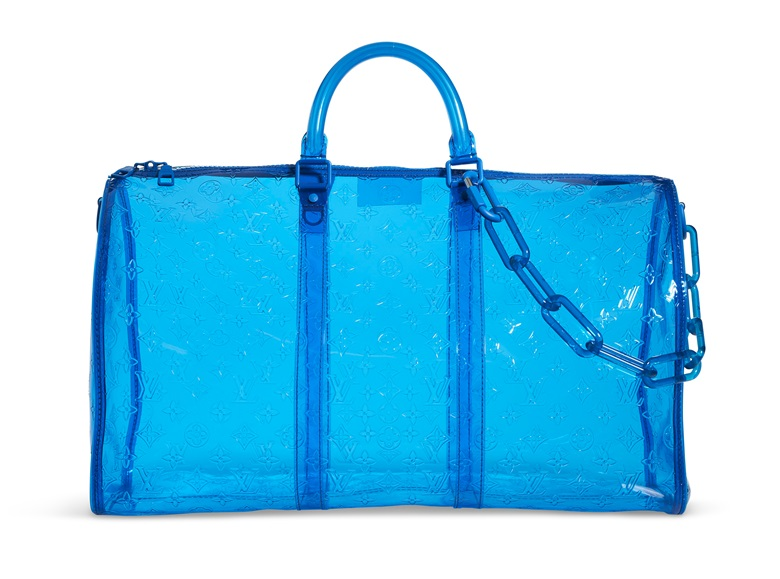 A limited edition blue monogram PVC Keepall Bandouliere 50 by Virgil Abloh, Louis Vuitton, 2019. 50 w x 29 h x 22 d cm. Estimate $3,000-5,000. Offered in Handbags & Accessories Online on 11 June 2020 at Christies in New York.