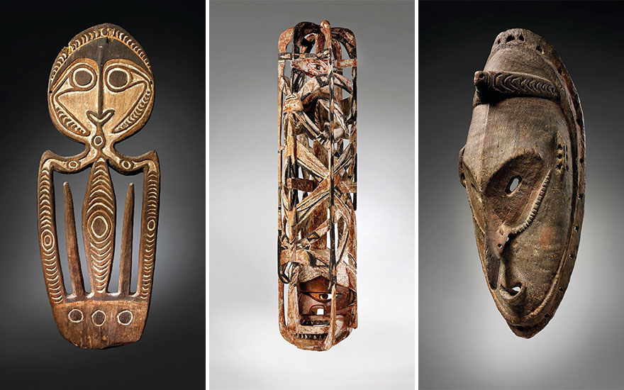 From left Kerewa skull hook, Agiba, Kikori Delta, Goaribari Island, Gulf of Papua New Guinea. Height 36¼ in (92 cm). Estimate €120,000-180,000. Malangan mask, New Ireland, Papua New