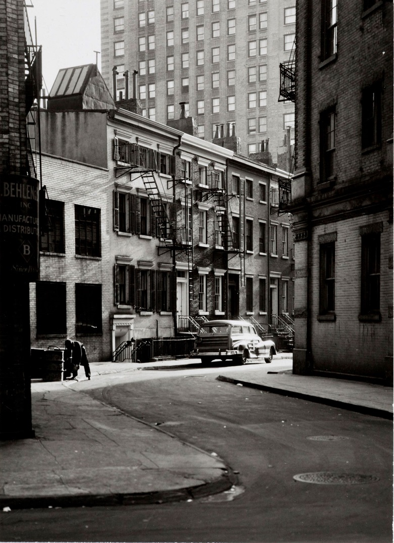 Berenice Abbott, Gay Street's Twisting Block, c. 1937. Gelatin silver print. Sheet 6¾ x 5 in (17.1 x 12.7 cm). Estimate $4,000-6,000. Offered in From Pictorialism into Modernism 80 Years of Photography, 30 April-13 May, Online