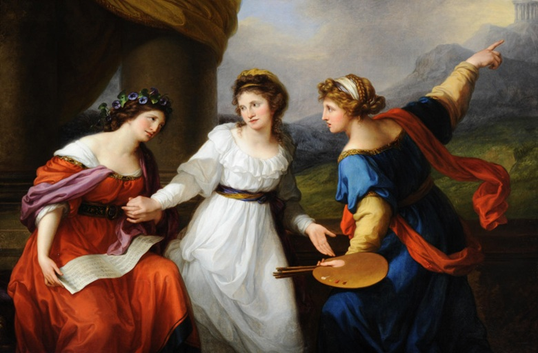 Angelica Kauffman, Self-Portrait of the Artist Hesitating Between the Arts of Music and Painting, 1794. Photo ART CollectionAlamy