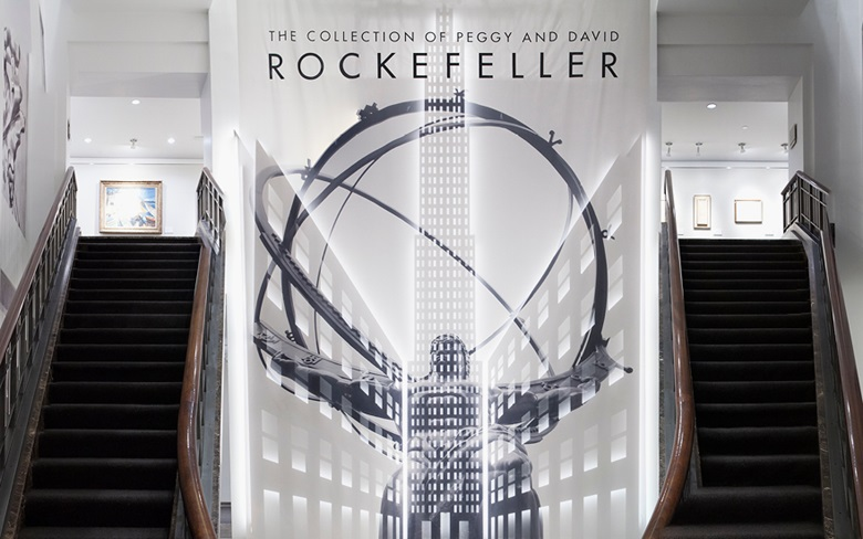 The entrance to the Rockefeller Collection exhibition at Christie's in New York in 2018. Take a virtual tour of The Collection of Peggy and David Rockefeller