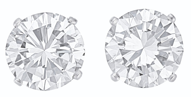 Diamond studs. Round brilliant-cut diamonds, platinum. Sold for $150,000 on 11 December 2019 at Christie's in New York