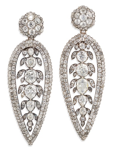 George III diamond earrings. Old-cut diamonds, silver and gold, partially closed-set, adapted, circa 1800, 6.2 cm. Sold for £75,000 on 12 June 2019 at Christie's in London