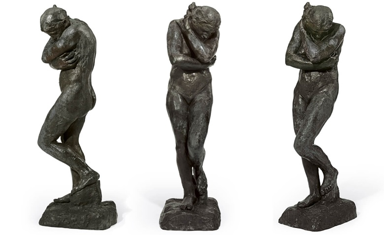 Auguste Rodin (1840-1917), Eve, conceived in 1881 and cast in 1897 by François Rudier. Bronze with brown patina. Height 68⅛ in (173 cm). Sold for $18,969,000 on 6 May 2008 at Christie's in New York