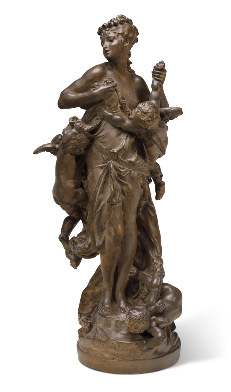 Auguste Rodin (1840-1917) and Albert Carrier-Belleuse (1824-1887), LInnocence tourmentée par lAmour, conceived in 1871; this terracotta version executed circa 1900. Terracotta. Height 24¾ in (62.9 cm). Estimate $12,000-18,000. Offered in La Vie en Rose, 12-28 May, Online
