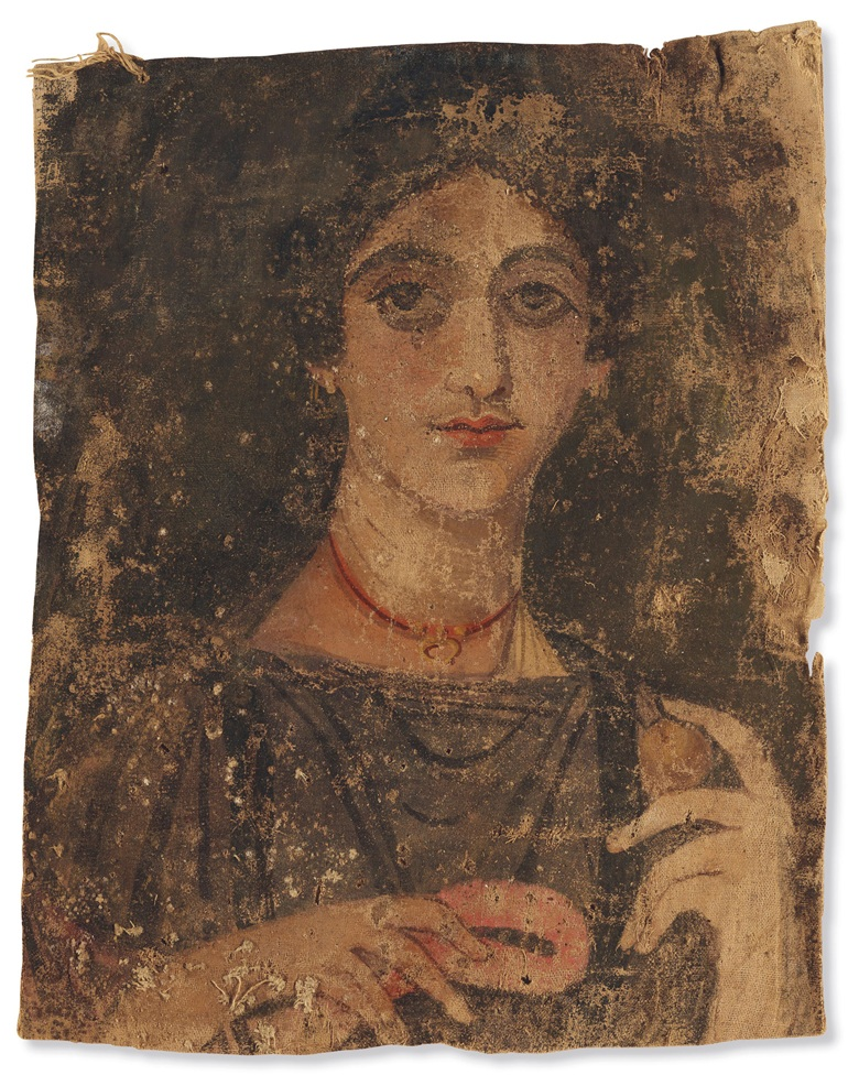 An Egyptian painted linen mummy shroud with a portrait of a woman, Roman period, circa 1st-2nd century AD. 17⅛ in (43.4 cm) high. Estimate $200,000-300,000. Offered in Ancient Art from the James and Marilyn Alsdorf Collection, 2-16 June 2020, Online