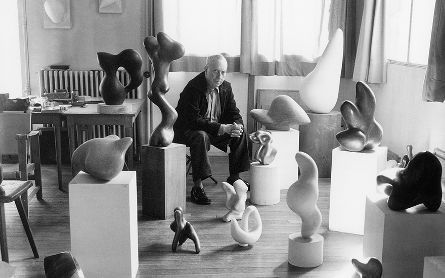 Jean  Hans Arp (1887-1966) in his workshop studio in Clamart, Paris, circa 1948-1950. Photo © Michel Sima  Bridgeman Images. Artworks © DACS 2021