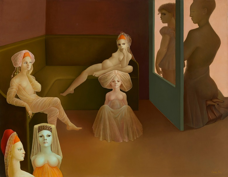 Leonor Fini, Rasch, Rasch, Rasch, meine Puppen Warten, 1975. Oil on canvas. 45 x 57⅜ in (114 x 145.7 cm). Offered for private sale at Christie's. View Impressionist and Modern art currently offered for private sale at Christie's