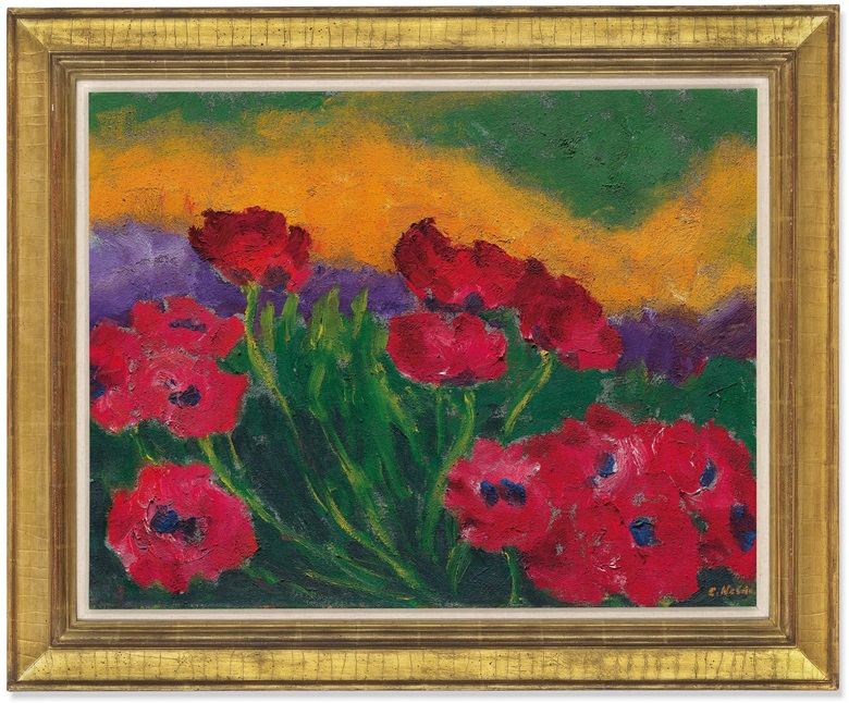 Emil Nolde (1867-1956), Mohn (Poppies), 1950. Oil on canvas. 27 x 34⅝ in (68.6 x 88 cm). Price on request. Offered for private sale at Christie's. View impressionist and modern art works currently offered for private sale at Christie's