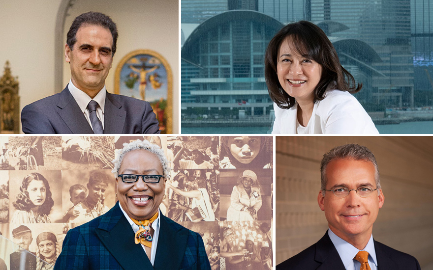 Clockwise from top left Dr. Gabriele Finaldi, Director of the National Gallery, London; Maria Mok, Director of the Hong Kong Museum of Art; Linda Harrison, Director of the Newark Museum of Art; Brent