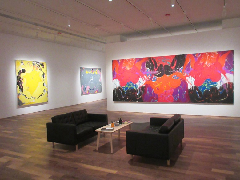 Installation view of Norman Bluhm Metamorphosis exhibition. Photo Courtesy Newark Museum of Art. Artwork Courtesy The Estate of Norman Bluhm