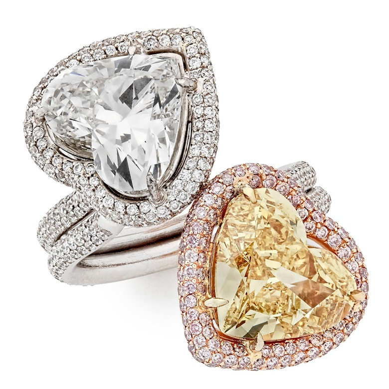 Toi et moi diamond ring. 4.20 ct Fancy Vivid Yellow colour VVS2 clarity heart-shaped diamond and 4.01 ct G colour VS2 clarity heart-shaped diamond on a gold band. Price on request. Offered for private sale at Christie's. View jewellery currently offered for private sale at Christie's