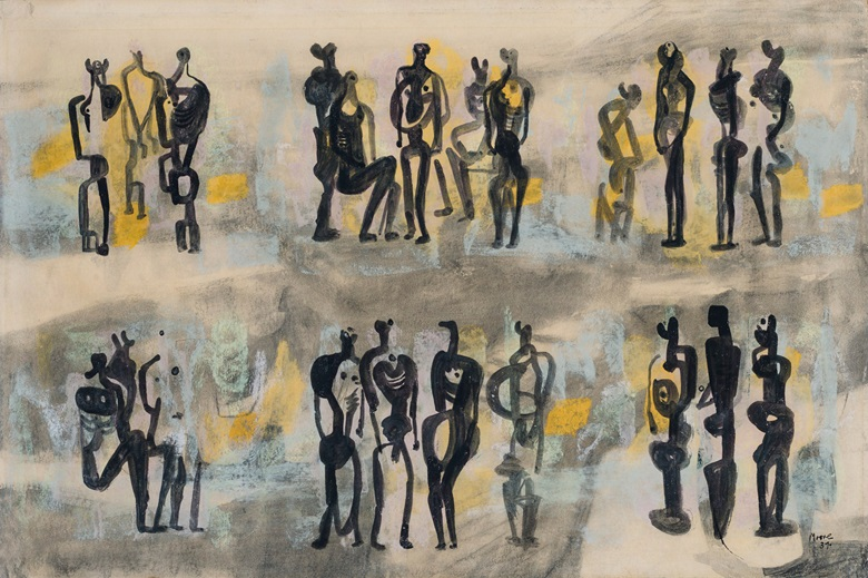 Henry Moore (1898-1986), Group of Figures, 1937. Gouache, watercolour and brush and black ink on paper laid down on board. 14⅝ x 21⅞ in (37.5 x 55.5 cm). Estimate $25,000-35,000. Offered in Form and Fantasy, 29 May-11 June, Online