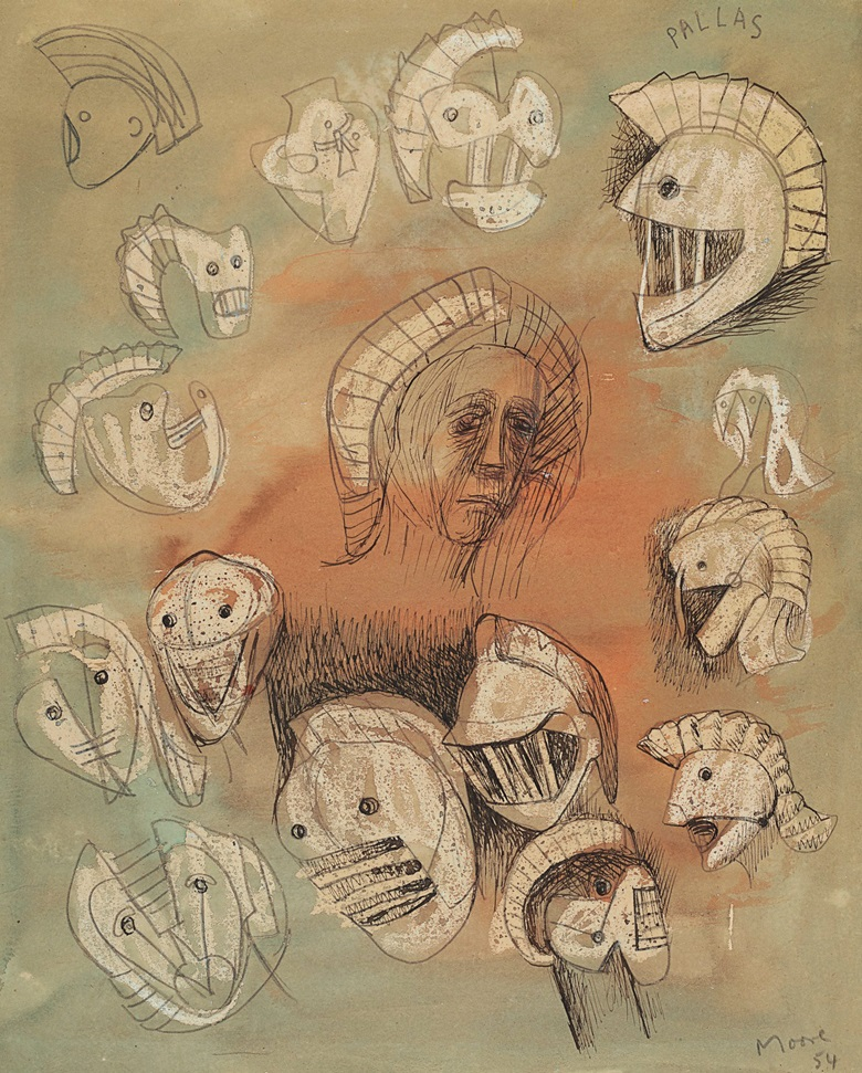 Henry Moore (1898-1986), Pallas Heads, 1954-1956. Watercolour, white wax crayon, pen and India ink and pencil on board. 11½ x 9⅜ in (29.2 x 23.8 cm). Estimate $12,000-18,000. Offered in Form and Fantasy, 29 May-11 June, Online