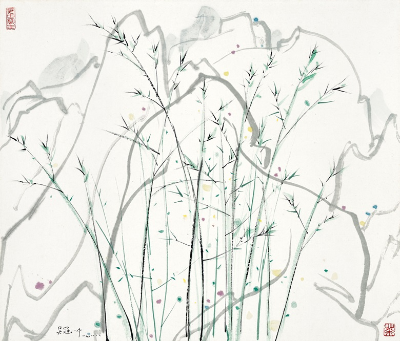 Wu Guanzhong, (1919-2010), Bamboo, 1988. Scroll, mounted and framed, ink and colour on paper.  20⅛ x 23⅝ in (51 x 60 cm). Estimate HK$600,000-800,000 (US$78,000-100,000). Offered in Fine Chinese Modern and Contemporary Ink Paintings on 8 July at Christies in Hong Kong