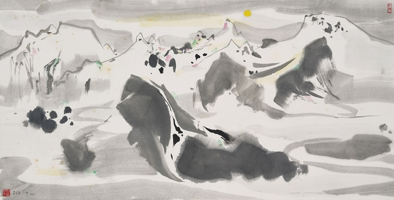 Wu Guanzhong, (1919-2010), The Yulong Mountains in the Moonlight, 1988. Scroll, mounted and framed, ink and colour on paper. 26⅜ x 52 in (67 x 132 cm). Estimate HK$4,000,000-6,000,000 (US$510,000-770,000). Offered in Fine Chinese Modern and Contemporary Ink Paintings on 8 July at Christies in Hong Kong