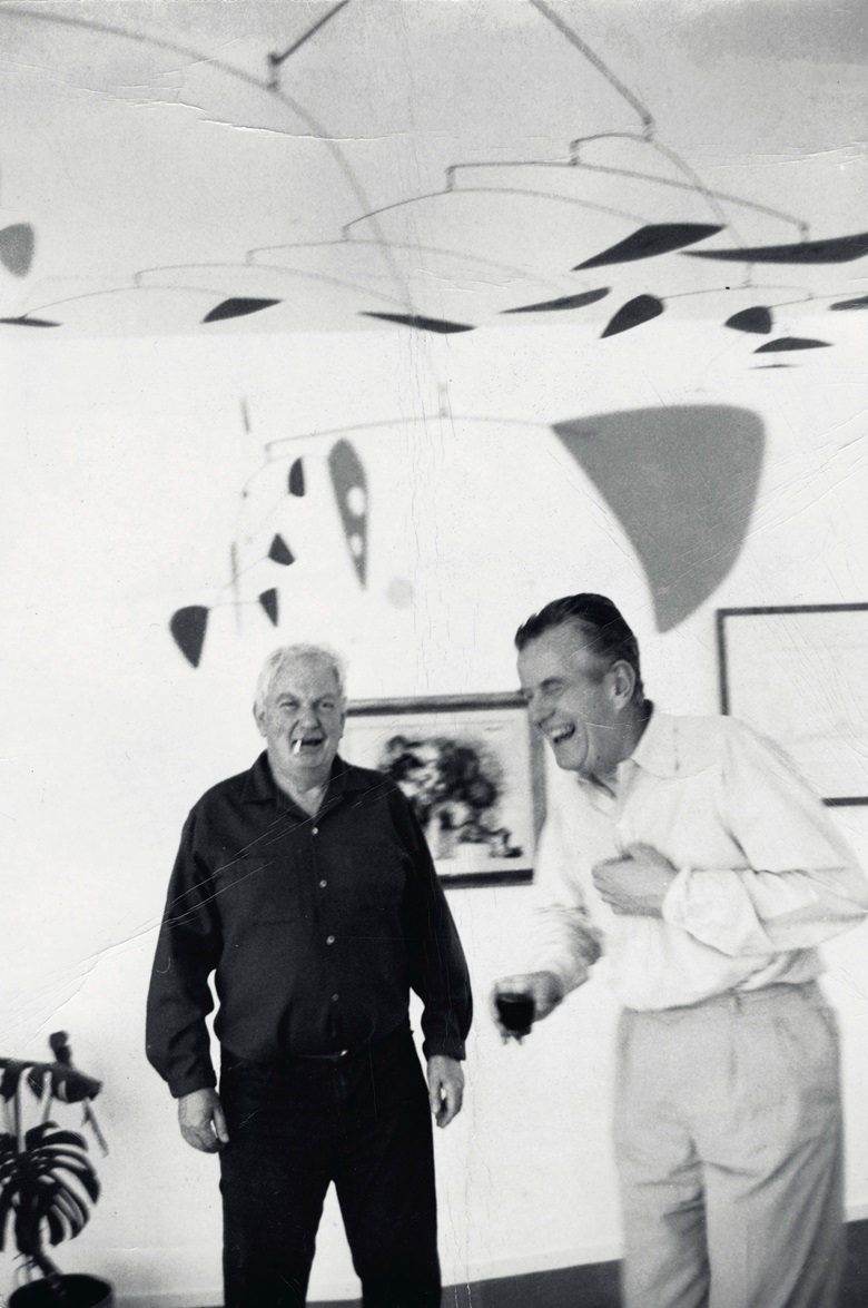 Alexander Calder and Robert Osborn spent many happy hours together swapping stories. Here they are pictured, with Sumac, at Osborn's home in Salisbury, Connecticut. Artwork © 2020 Calder Foundation, New York  Artists Rights Society (ARS), New York