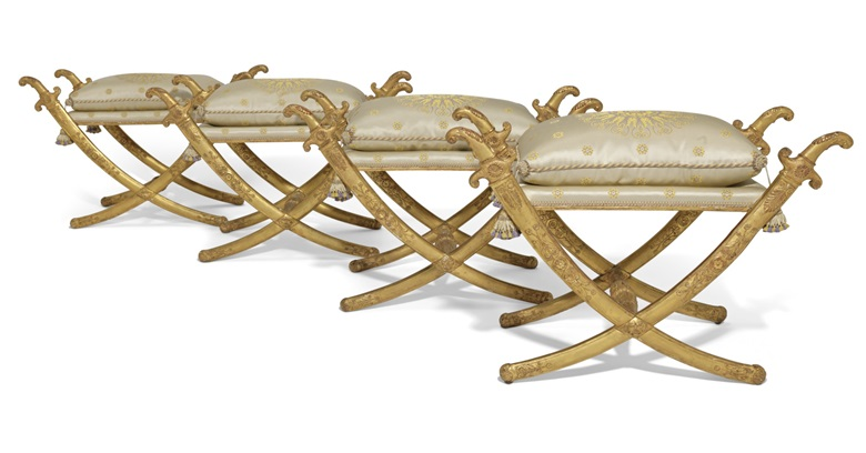 A set of four Imperial giltwood pliants, by Jacob-Desmalter, after a design by Bernard Poyet, c. 1805. Price on request. View decorative arts currently offered for private sale at Christie's