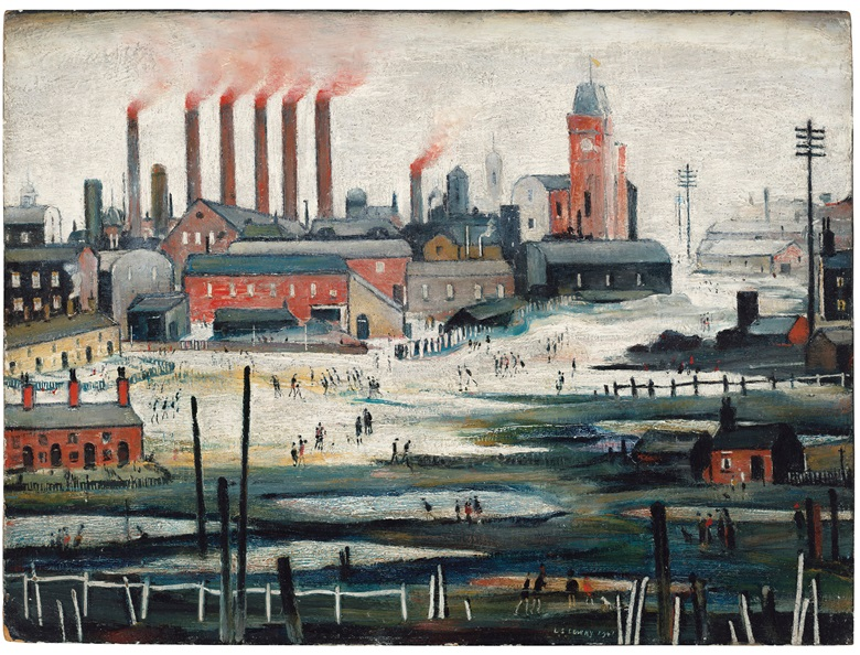 Laurence Stephen Lowry, R.A. (1887-1976), Iron Works, 1941. Oil on board. 17¾ x 24 in (45.1 x 61 cm). Estimate £500,000-800,000. Offered in People Watching The Art of L.S. Lowry, 15 June-2 July, Online