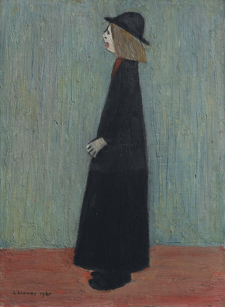Laurence Stephen Lowry, R.A. (1887-1976), A Woman Standing, 1965. Oil on canvas-board. 16 x 12 in (40.6 x 30.5 cm). Estimate £120,000-180,000. Offered in People Watching The Art of L.S. Lowry, 15 June-2 July, Online