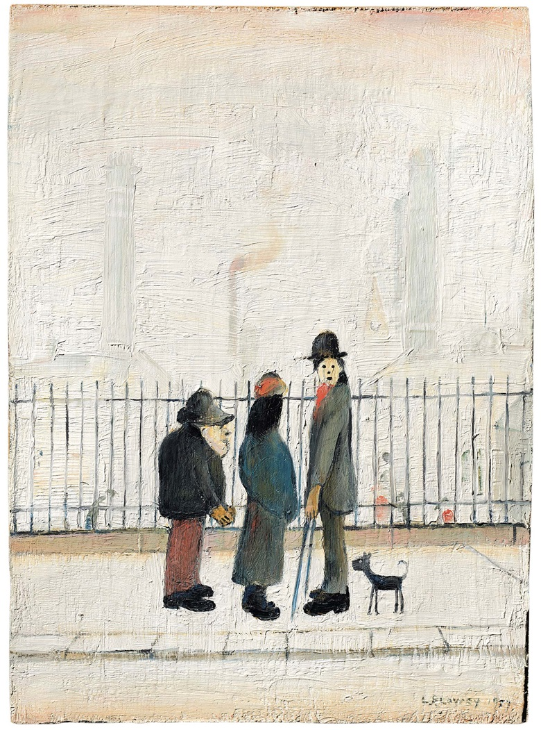 Laurence Stephen Lowry, R.A. (1887-1976), Landscape with Figures, 1957. Oil on panel. 14 x 10 in (35.6 x 25.4 cm). Estimate £250,000-350,000. Offered in People Watching The Art of L.S. Lowry, 15 June-2 July, Online