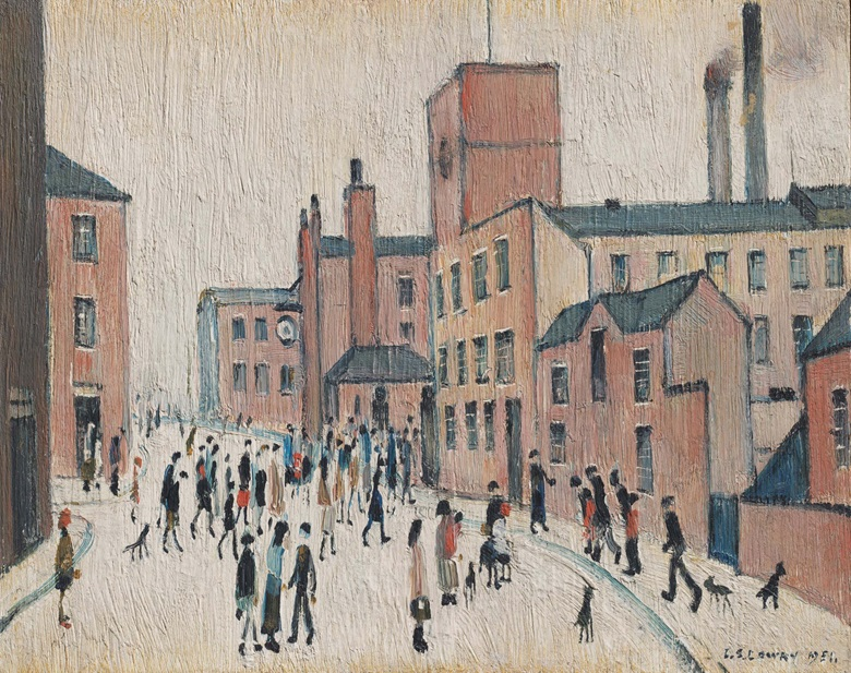 Laurence Stephen Lowry, R.A. (1887-1976),  Lancashire Street, 1951. Oil on panel. 9 x 11 in (22.8 x 27.9 cm). Estimate £150,000-250,000. Offered in People Watching The Art of L.S. Lowry, 15 June-2 July, Online