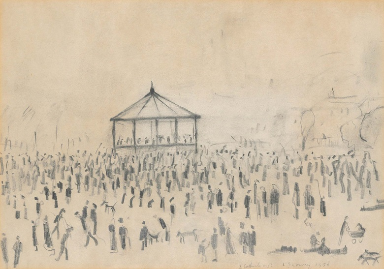 Laurence Stephen Lowry, R.A. (1887-1976),  Bandstand, Peel Park, 1956. Pencil on paper. 10 x 14 in (25.4 x 35.6 cm. Estimate £20,000-30,000. Offered in People Watching The Art of L.S. Lowry, 15 June-2 July, Online