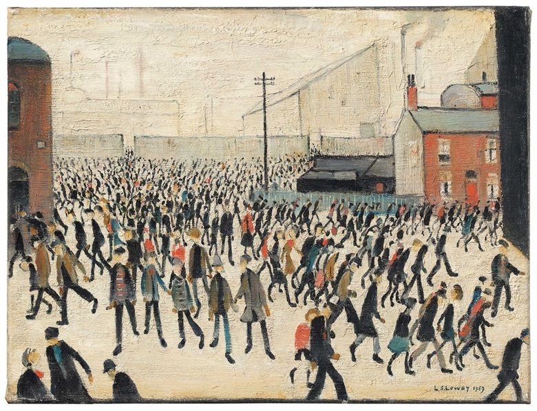 Laurence Stephen Lowry, R.A. (1887-1976), Coming from the Match, 1959. Oil on canvas. 12 x 16 in (30.5 x 40.6 cm). Estimate £500,000-800,000. Offered in People Watching The Art of L.S. Lowry, 15 June-2 July, Online
