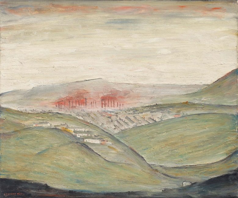 Laurence Stephen Lowry, R.A. (1887-1976). Ebbw Vale Steel Works, 1962. Oil on canvas. 20 x 24 in (50.8 x 61 cm). Estimate £150,000-250,000. Offered in People Watching The Art of L.S. Lowry, 15 June-2 July, Online