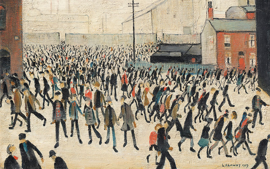 Laurence Stephen Lowry, R.A. (1887-1976), Coming from the Match, 1959. Oil on canvas. 12 x 16 in (30.5 x 40.6 cm). Estimate £500,000-800,000. Offered in People Watching The Art of L.S. Lowry, 15