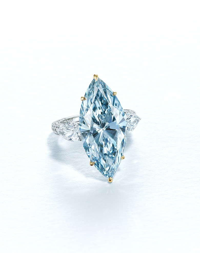 A superb 12.11 carat Fancy Intense Blue diamond ring. Sold for HK$122,385,000 on 9 July 2020 at Christie's in Hong Kong