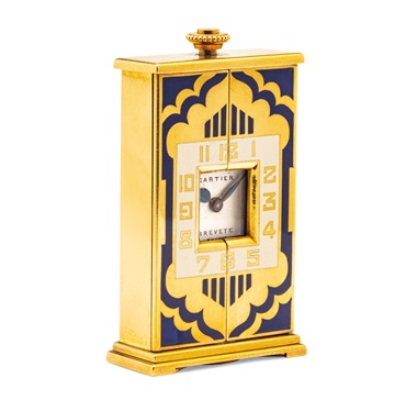 Art Deco enamel and gold 'Altar' desk clock, Cartier, 1925. Estimate CHF15,000-20,000. Offered in A lifetime of collecting – A Collection of 101 Cartier Clock, 7-21 July 2020, Online