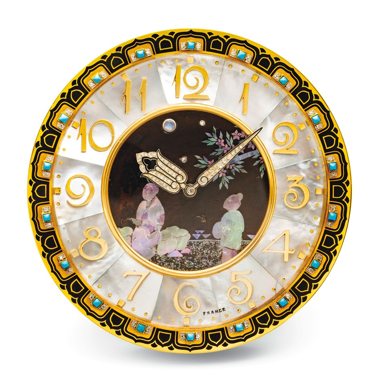 Art Deco mother-of-pearl, enamel, turquoise, moonstone and diamond desk clock, Cartier, 1926. Estimate CHF120,000-180,000. Offered in A lifetime of collecting – A Collection of 101 Cartier Clock, 7-21 July 2020, Online