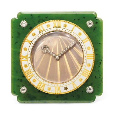 Art Deco nephrite jade, enamel and diamond desk clock, Cartier, circa 1925. Estimate CHF35,000-55,000. Offered in A lifetime of collecting – A Collection of 101 Cartier Clock, 7-21 July 2020, Online