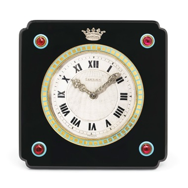Art Deco onyx, enamel, ruby and diamond clock, Cartier, circa 1920. Estimate CHF30,000-50,000. Offered in A lifetime of collecting – A Collection of 101 Cartier Clock, 7-21 July 2020, Online