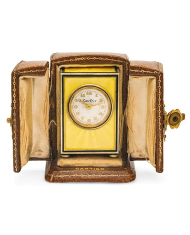 Belle Epoque enamel 'Mignonette' clock, Cartier, 1905. Estimate CHF20,000-30,000. Offered in A lifetime of collecting – A Collection of 101 Cartier Clock, 7-21 July 2020, Online