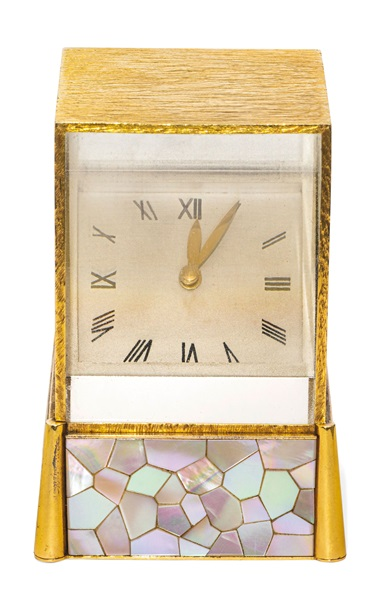 Mid 20th-century mother-of-pearl and glass prism clock, Cartier, 1963. Estimate CHF15,000-20,000. Offered in A lifetime of collecting – A Collection of 101 Cartier Clock, 7-21 July 2020, Online