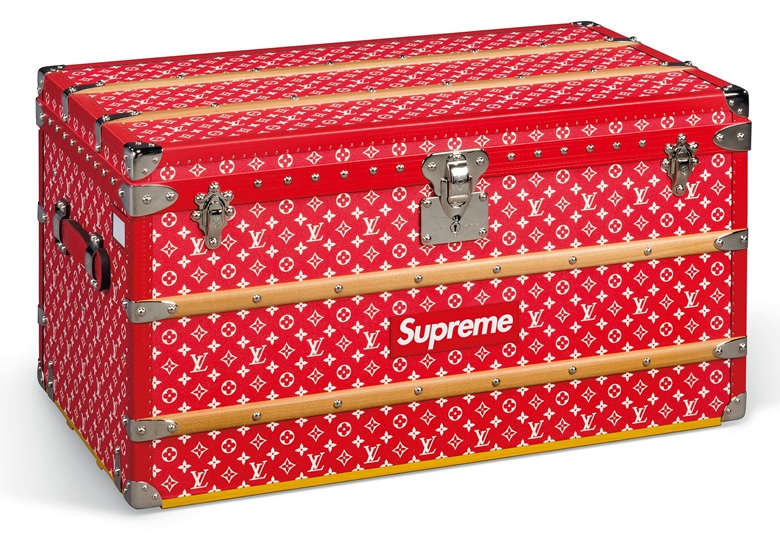 A limited-edition red and white monogram Malle Courrier 90 trunk with silver hardware by Supreme, Louis Vuitton x Supreme, 2019